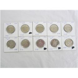 10 Assorted Nickel 50 cent pieces 1968-2002