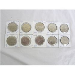 10 Assorted Nickel Dollars 1968-1984