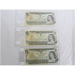 3 One Dollar Replacement Notes 1973