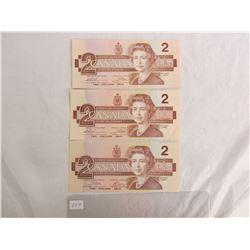 3 Two Dollar Bills 1986
