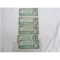 Five One Dollar Bills 1867 -1967