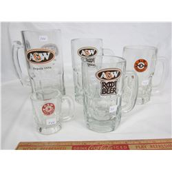 5 A and W Glass Mugs Baby to Large No Damage