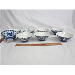 8 Bue and White porcelain bowls 4 spoons no damage