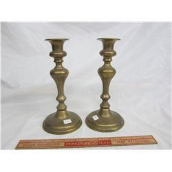Victorian English Push Up Brass Candlesticks
