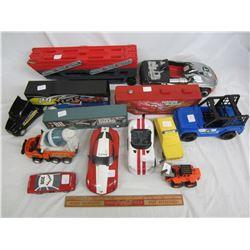 Lot of 12 plastic toys cars , semis ect.