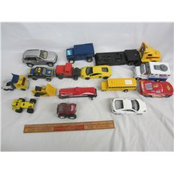 Lot of 16 mixed vintage toys cars, trucks, bus ect.