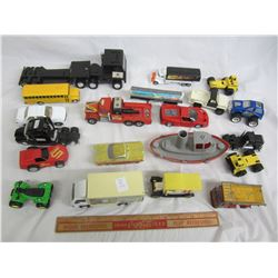 Lot of 21 mixed vintage toys cars , semi, boat , ect.