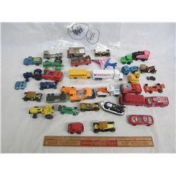 Lot of 35 mixed Hot Wheels style cars, trucks ,tractors ect.