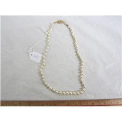 Beautiful Saltwater Strand of Pearls length 16 inches silver gold plated clasp