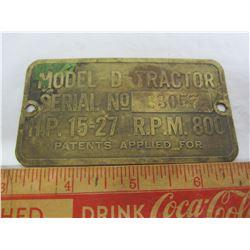 John Deer model D tractor brass I.D. tag