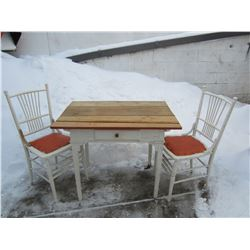 Antique Mennonite handmade table and 2 chairs
