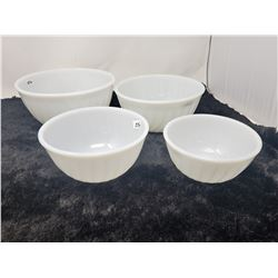 Set of 4 white Fire King bowls