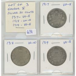 Lot Of 3 Canadian George V Silver 50 Cents. 1917 VG-8; 1918 VG-10; 1919 VG-8