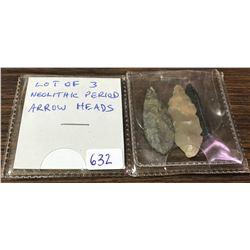 Lot Of 3 Neolithic Arrow Heads