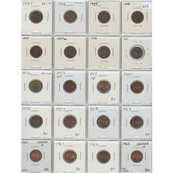 Lot Of 20 Different Canadian Small Cents 1937-1963 8 Coins Are George VI All Coins Are Lustrous And