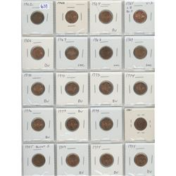 Lot Of 20 Different Canadian Small Cents 1962-1995 All Coins Are Lustrous And Are AU, UNC, And BU Re