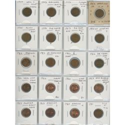 Lot Of 20 Error & Variety Canadian Cents 1939-1981 Includes Struck Through Grease, Die Cracks, Clips