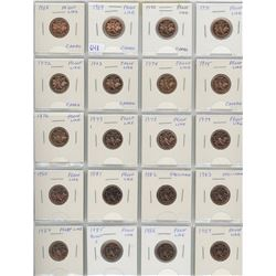 Complete Set Of 20 Canadian Small Cents 1968-1987. All Are Proof Like (6 With Cameo) And Specimen- A