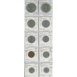 Lot Of 10 East German DDR Coins Including 20 Mark (Schiller) 10 Mark (25th Anniversary) 5 Mark (Meis