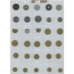 Lot Of 30 Different French Coins Including 1873A 5 Centimes, World War 1, Vichy And Modern Republic