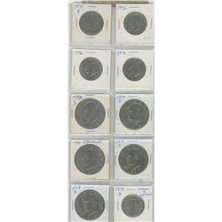 Lot Of 10 U.S Half Dollars & Dollars. Includes 4 Kennedy Half Dollars 1971D, 1972, 1976, 1979: 5 Eis