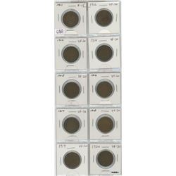 Complete Set Of 10 Canadian George V Large Cents 1911-1920. Coins Grade F-15 To VF-30
