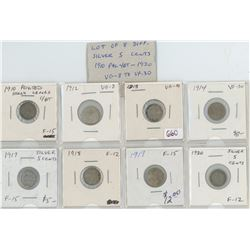 Lot Of 8 Different Canadian Silver 5 Cents 1910-1920 Includes 1910 Pointed Holly Leaves C/BT, 1912,
