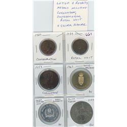 Lot Of 6 Royalty Medals Including Coronation, 1927 Confederation, 1939 Royal Visit And Silver Jubile