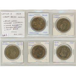 Lot of 5 1989 Saskatoon Labatt Brier Curling Medals. Includes Brier Medal, Garnet Campbell, Ernie Ri