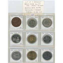 Lot of 9 different Regina Trade Dollars and medals including Buffalo Days, RCMP, Centennial & Diamon