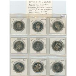 Lot of 9 NHL Hockey Greats Limited Edition Coin Collection: Wayne Gretsky, Mark Messier, Sergei Fedo