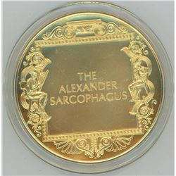 The Alexander Sarcophagus. From the Ancient Greece medals series. A beautiful gold-plated bronze med