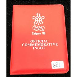 Calgary 1988 Olympic Games Official Commemorative Silver Ingot. 1 gram .999 pure silver ingot housed