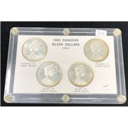 Set of 4 1965 Canadian Silver Dollar Types: Type 1: Small Beads, Pointed 5; Type 2: Small Beads, Blu