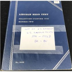 Set of 63 different U.S. Lincoln Cents 1941 – 1972D. Housed in a blue Whitman folder. Coins grade VG