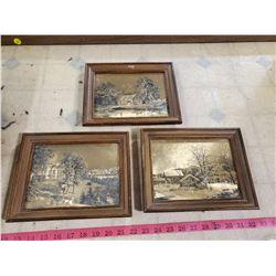 3 framed art pieces