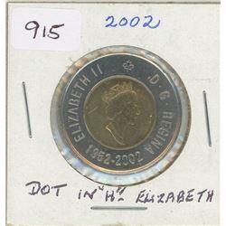1952 - 2002 Toonie with Dot in H of Elizabeth