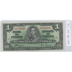 1937 Canadian One Dollar Note - BC-21d