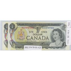 1973 Canadian One Dollar Notes - 2 in Sequence