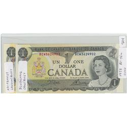 2 - 1973 Canadian One Dollar Notes - BC-46a