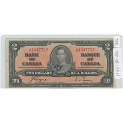 1937 Canadian Two Dollar Note - BC-22c