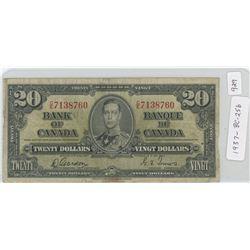 1937 Canadian Twenty Dollar Note - BC-25b