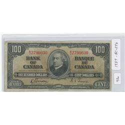 1937 Canadian One Hundred Dollar Note - BC-27b