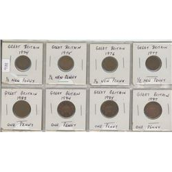 Eight Great Britain 1/2 Penny & One Penny Coins