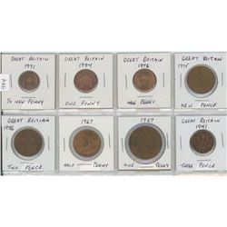 Eight Great Britain Coins
