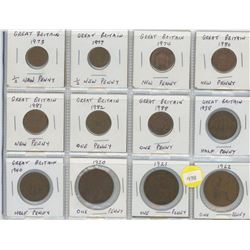 Twelve Great Britain Coins