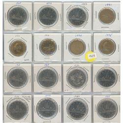 16 Canadian Dollar Coins - 11 Nickel Dollars & 5 Loonies