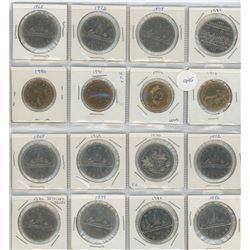 16 Canadian Dollar Coins - 12 Nickel Dollars & 4 Loonies