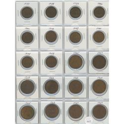 20 Great Britain Coins - 10 Half Penny & 10 One Penny