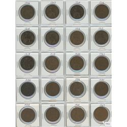 20 Great Britain One Penny Coins